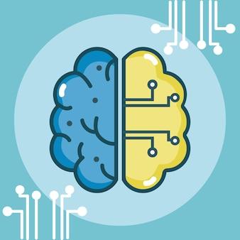 人工脳の概念のベクトル図のグラフィックデザイン