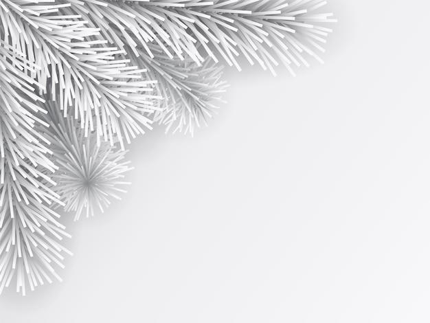 人工的なクリスマスツリーの枝は白です。ペーパーカットスタイル。クリスマスグリーティングカードの背景。