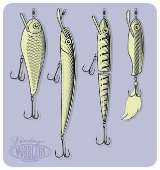 Искусственные рыболовные приманки (воблеры) в стиле гравюры