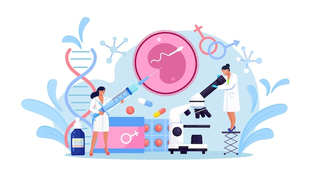 Artificial insemination and reproductology. in vitro fertilization concept. human fertility, biological material research for reproductive health. pregnancy monitoring. infertility treatment