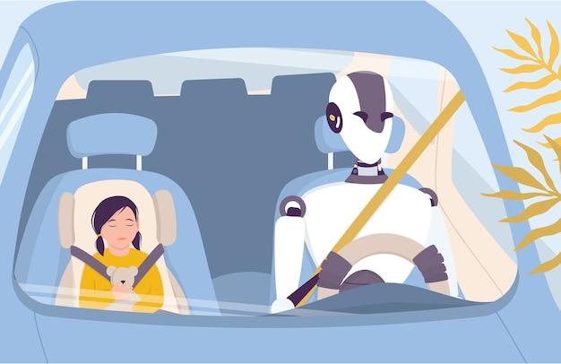 Искусственный интеллект как часть человеческого распорядка. домашний персональный робот безопасно водит людей. ai помогает людям в их жизни, концепции технологий будущего. иллюстрация