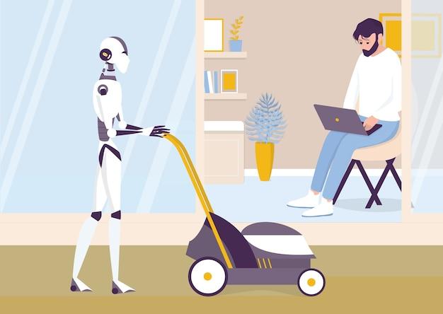 Искусственный интеллект как часть человеческого распорядка. домашний персональный робот косит газон. ai помогает людям в их жизни, концепции технологий будущего. иллюстрация