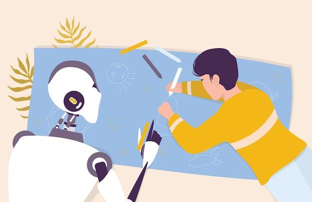 Искусственный интеллект как часть человеческого распорядка. домашний персональный робот, заботящийся о ребенке. ai помогает людям в их жизни, концепции технологий будущего. иллюстрация