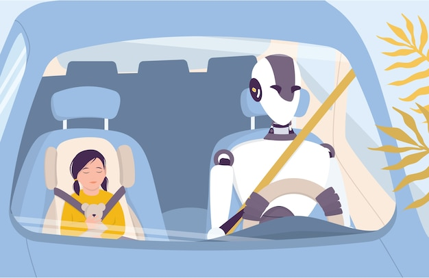 Artificial intelegence as a part of human routine. domestic personal robot drive people safely. ai helps people in their life, future technology concept.  illustration