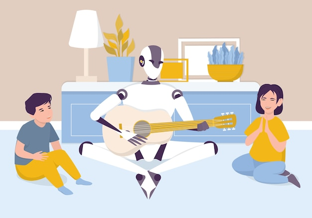 Artificial intelegence as a part of human routine. domestic personal robot playing acoustic guitar for children. ai character with a music instrument, future technology concept.