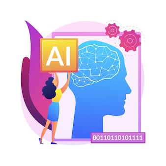 Illustrazione di concetto astratto di intelligenza artificiale. ai, machine learning, evoluzione dell'intelligenza artificiale, alta tecnologia, tecnologia all'avanguardia, robotica cognitiva.