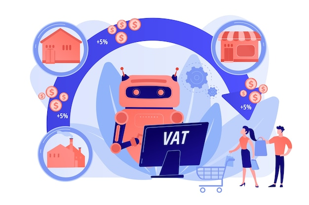 Artificial intelligence, ai calculating taxation multiplier. value added tax system, vat number validation, global taxation control concept. pinkish coral bluevector isolated illustration