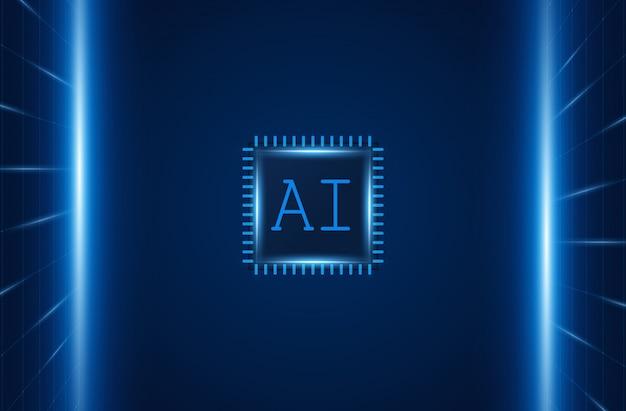Искусственный интеллект, ai чипсет на плате, футуристическая концепция технологии