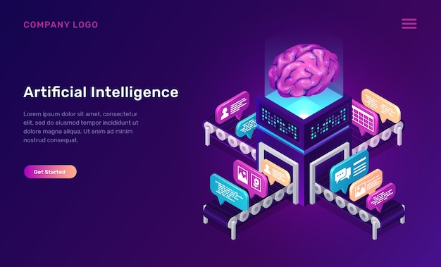 Artificial intelligence or ai isometric concept Free Vector