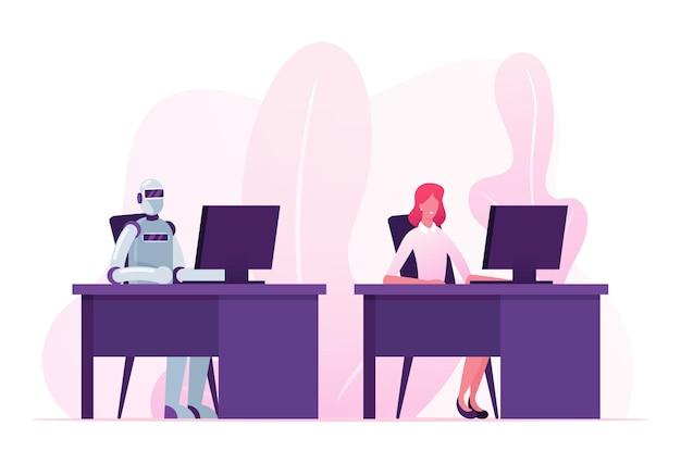 인공 지능 및 인적 자원 개념. 만화 평면 그림