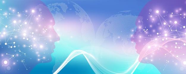 Концепция вектора искусственного интеллекта и машинного обучения в нейронной сети. дизайн веб-баннера ai с человеческим лицом. связь волнового потока. цифровая сеть для глубокого обучения искусственного интеллекта.