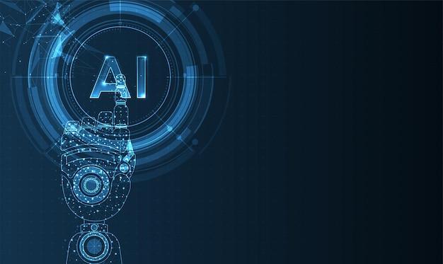 신경망이 있는 인간형 머리에 인공 지능과 로봇 손이 디지털을 생각합니다