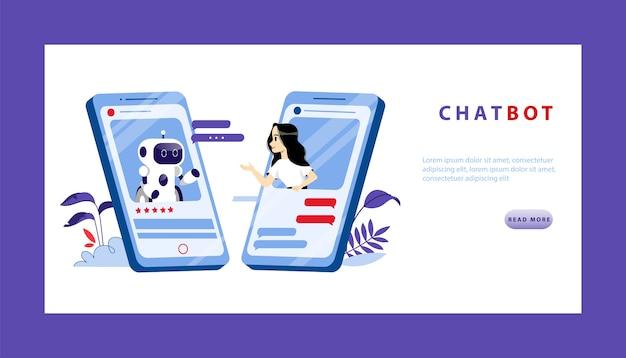 将来のコンセプトの人工知能とスマートテクノロジー。若い女性がスマートフォンの画面からチャットボットと会話します。