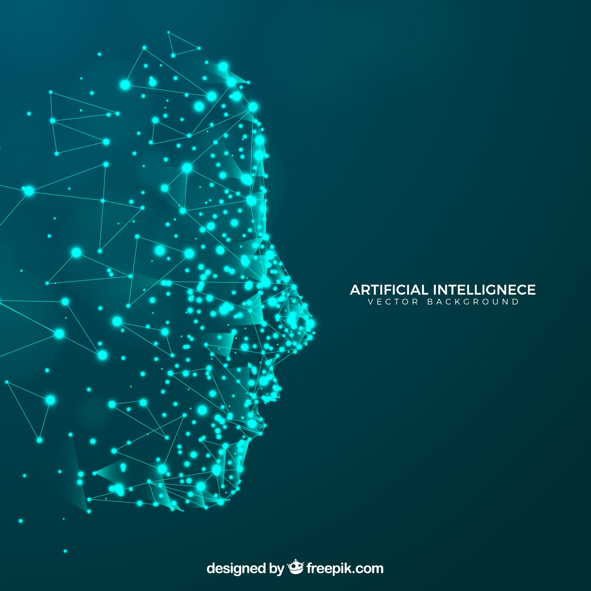 Artificial intelligence background with head