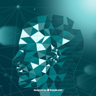Artificial intelligence background with polygonal head