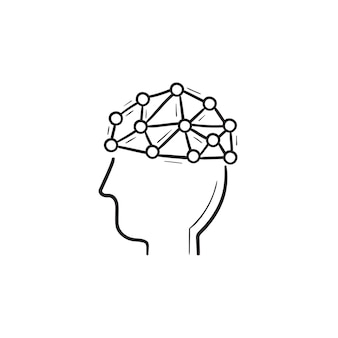 Artificial intelligence brain hand drawn outline doodle icon. artificial intelligence brain technology concept. vector sketch illustration for print, web, mobile and infographics on white background.
