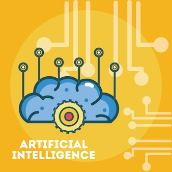 Artificial intelligence brain over microchip background