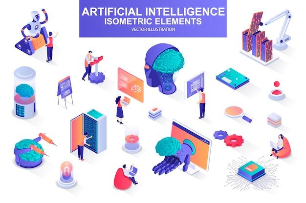 Artificial intelligence bundle of isometric elements  illustration