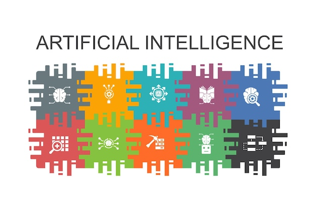 Artificial intelligence cartoon template with flat elements. contains such icons as machine learning, algorithm, deep learning, neural network