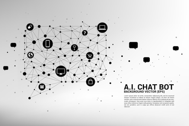 Artificial intelligence chat bot service with dot connected line style background.
