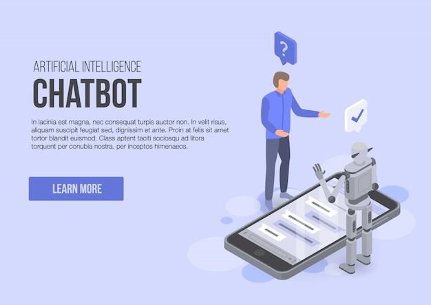 Artificial intelligence chatbot concept banner, isometric style