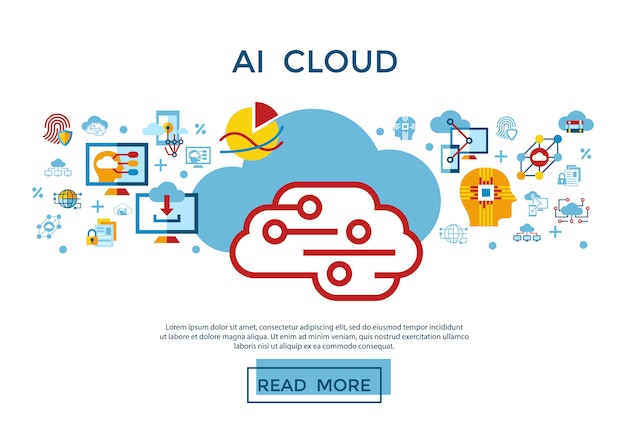 Artificial intelligence cloud icons collection