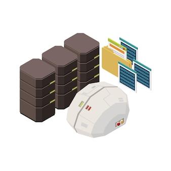 Композиция искусственного интеллекта с изображениями цифровых мозговых папок дата-центра изометрии