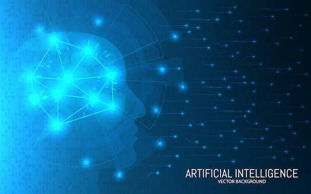 Artificial intelligence concept. abstract futuristic background. big data . head with connections on a binary backdrop. digital brain technology.  illustration.