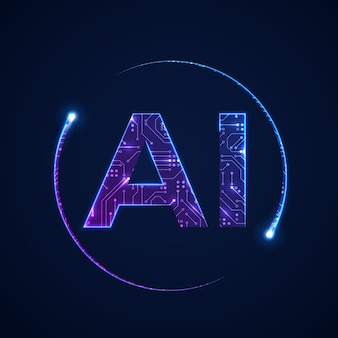 Artificial intelligence concept. circuit board background with ai logo.  illustration