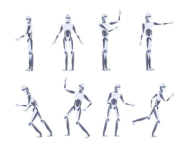 人工知能のコンセプトです。未来のテクノロジー。さまざまなビュー、ポーズ、ジェスチャーを持つロボットキャラクター。イラストのセット