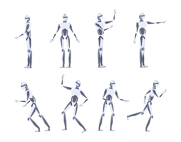 Artificial intelligence concept. futuristic technology. robot character with various views, pose and gesture. set of   illustration