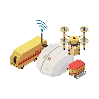 Artificial intelligence concept with digital brain controlling delivery transport isometric