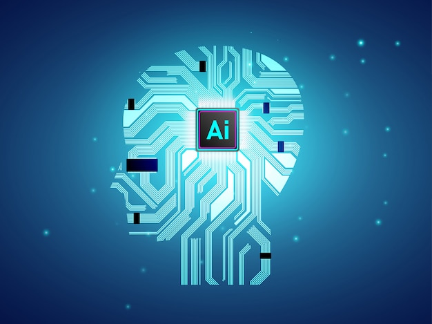 Artificial intelligence cpu with brain concept design.