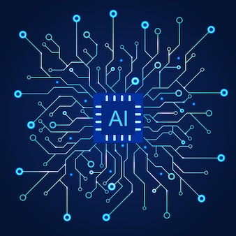Artificial intelligence dark blue background. machine programming and ai chip on computer.  circuit motherboard modern technology. vector illustration