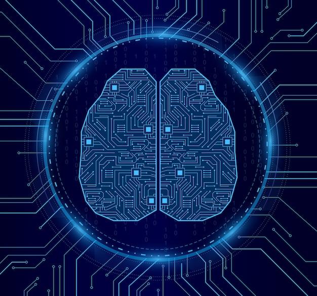 人工知能。デジタルブレイン、テクノロジーの電子ボードは未来的なコンセプトに見えます