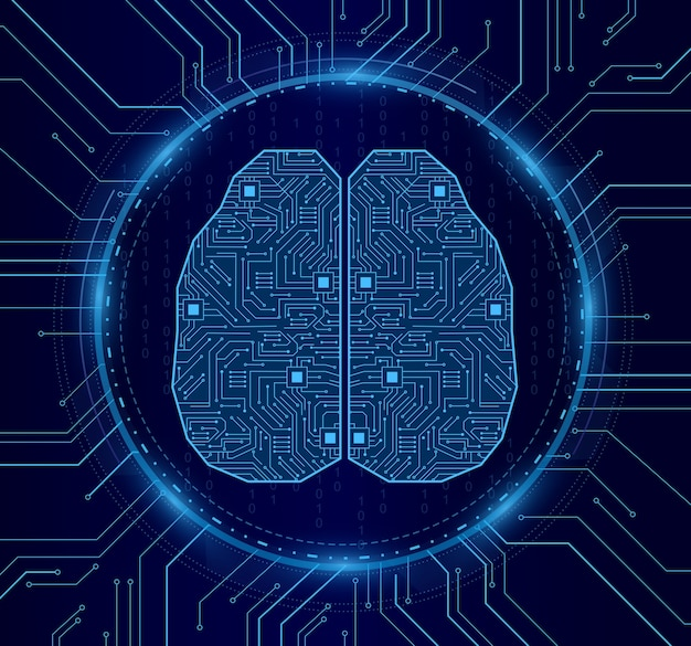 Artificial intelligence. digital brain, electronic board in technology look futuristic concept