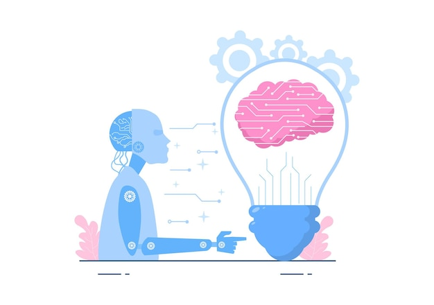 科学的文脈で設定できるプログラマーデータまたはシステムを備えた人工知能デジタル脳技術および工学概念。ベクトルイラスト