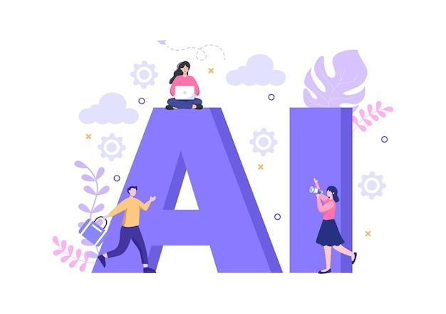 Искусственный интеллект технология цифрового мозга и инженерная концепция с данными программиста или системами, которые могут быть настроены в научном контексте. векторные иллюстрации