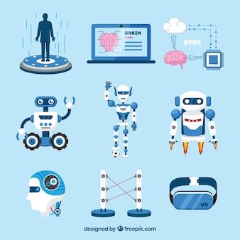 Raccolta di elementi di intelligenza artificiale in stile piatto Vettore gratuito