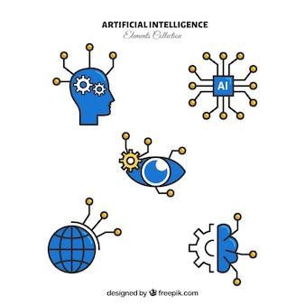 플랫 스타일의 인공 지능 요소 컬렉션