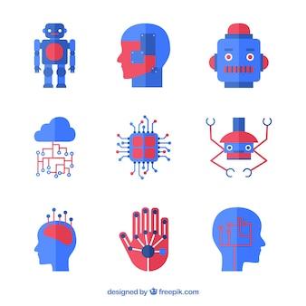 Коллекция элементов искусственного интеллекта в плоском стиле