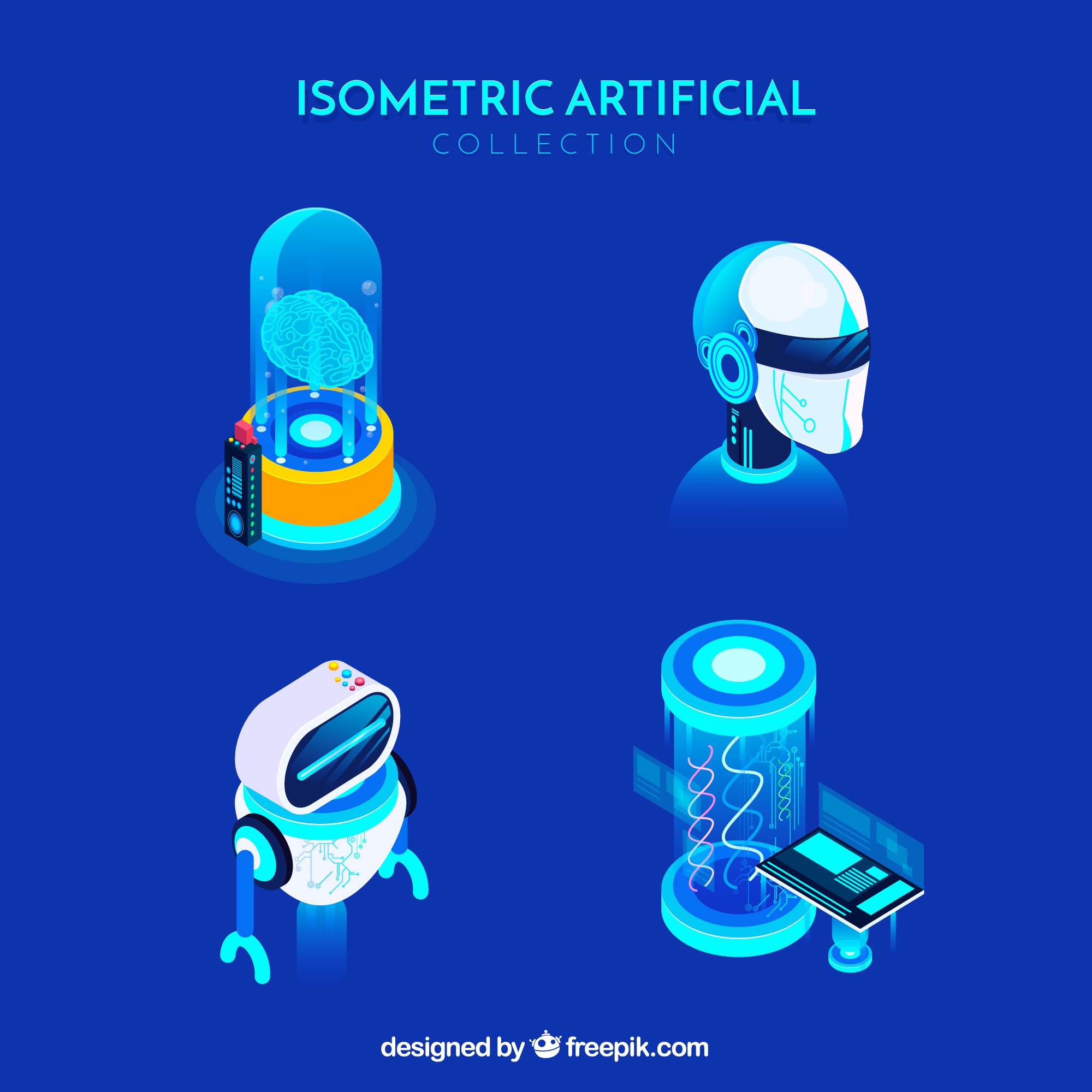 Artificial intelligence elements collection in isometric style