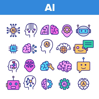 Artificial intelligence elements icons set
