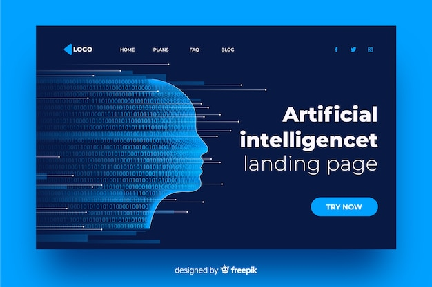Artificial intelligence fading face landing page