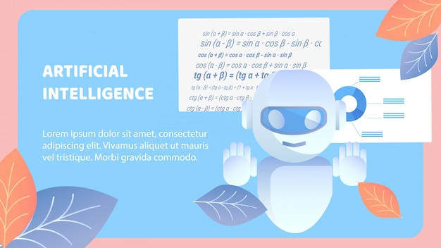 Artificial intelligence flat banner vector layout