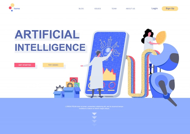 Artificial intelligence flat landing page template. machine learning concept scientists programming cybernetic system situation. web page with people characters. digital technology illustration