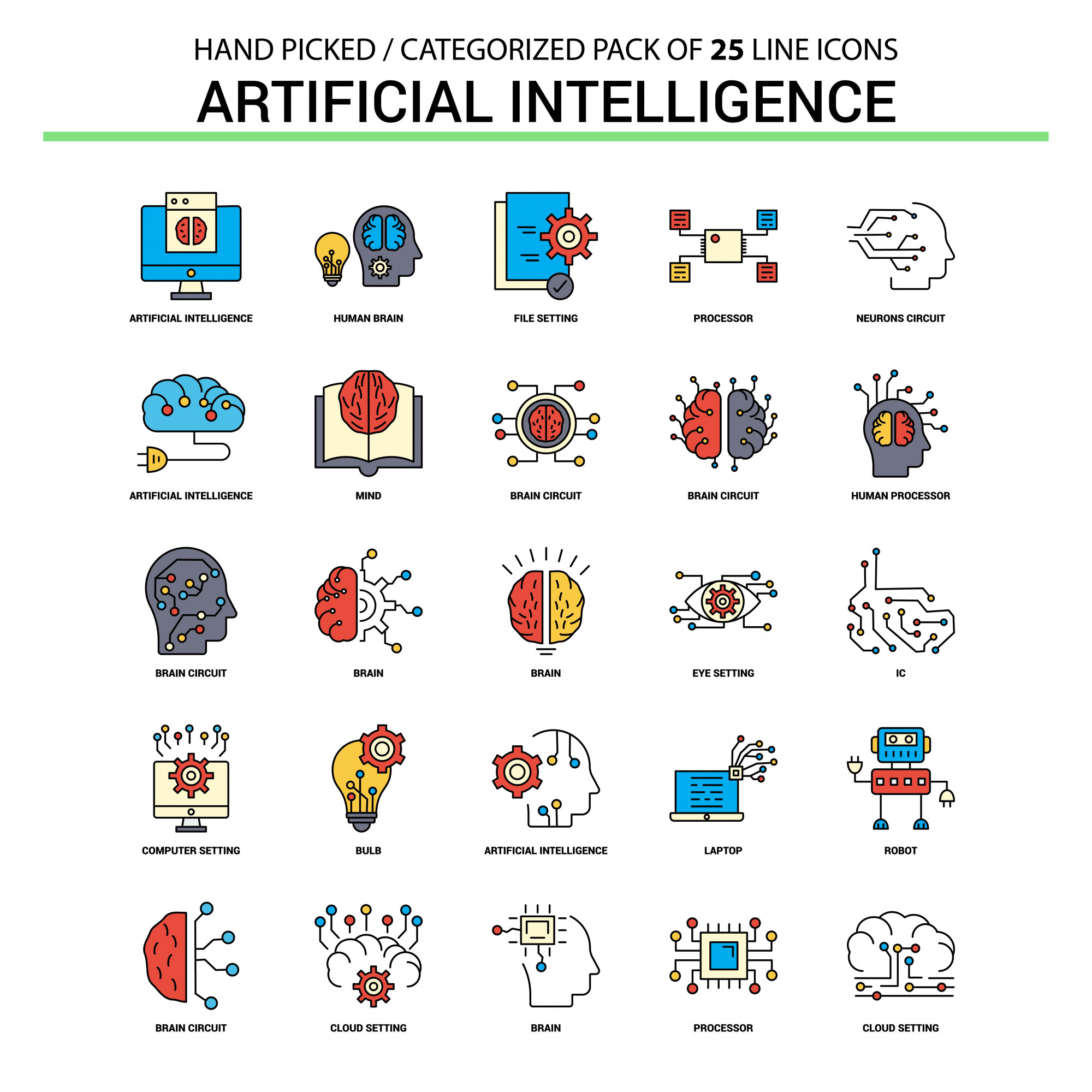 Artificial Intelligence Flat Line Icon Set - Business Concept Icons Design