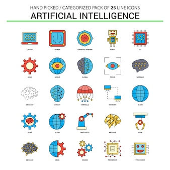 Artificial intelligence flat line icon set