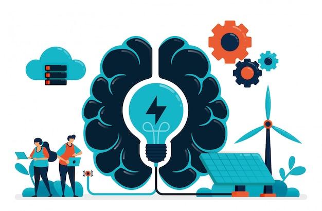 スマートグリーンエネルギーの人工知能。人工脳はエネルギー管理を供給します。太陽電池と風力による未来のエネルギー。人工技術のアイデア。