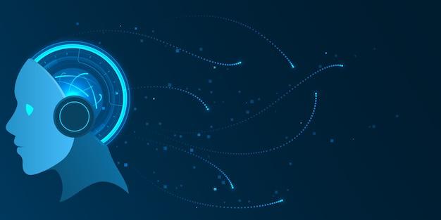 Artificial intelligence futuristic data processing technology illustration.